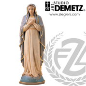 Blessed Virgin mary statue in hand carved linden wood with choices of 30 36 42 48 or 60 inches and choice of natural stain or color finish Crafted In Italy DM613