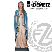 Blessed Virgin Statue hand-carved linden wood with choices of 30 36 42 48 or 60 inch heights and choose of natural stain or color finish crafted In Italy DM615
