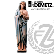 Blessed Virgin Statue in fiberglass or hand-carved linden wood in choice of 30 36 42 48 60 or 72 inches high with choice of natural stain color bronze or white marble finish crafted In Italy DM64040