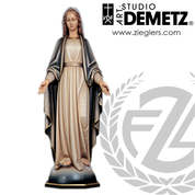 Our Lady of Grace Statue in fiberglass or hand-carved linden wood in choice of 9 sizes with choice of natural stain color bronze or whit marble finish crafted In Italy DM64057