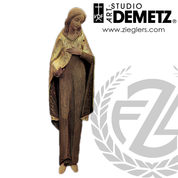 Blessed Virgin Statue in hand-carved chestnut wood with choice of 48 60 or 72 inch heights and choice of natural stain or color finish crafted In Italy DM64081
