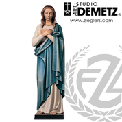 Blessed Virgin Statue in fiberglass or hand-carved linden wood with choices stands 60 inches high with choice of natural stain color bronze or white marble finish crafted In Italy DM640104