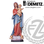 Our Lady With Infant Jesus Statue in hand-carved linden wood with choices of 36 or 48 inch heights and  choice of natural stain or color finish crafted In Italy DM697