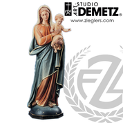 Our Lady With Infant Jesus Statue in fiberglass or hand carved from linden wood with choice of 30 36 48 60 or 66 inch height and choice of natural stain or color finish Crafted In Italy DM70073
