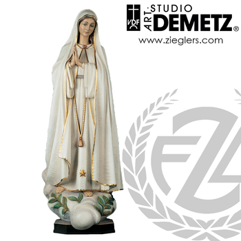 Our Lady of Fatima Statue in fiberglass or hand carved linden wood with choice of 24 36 48 60 72 or 84 inches high with choice of natural stain color bronze or white marble finish Crafted In Italy DM736