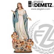 Our Lady of the Assumption Statue in fiberglass or hand-carved linden wood with choice of 36 48 or 66 inch height and natural stain color bronze or white marble finish crafted in Italy DM765