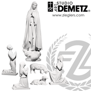 Our Lady of Fatima Statue set in fiberglass or hand carved linden wood in choice of 48 or 60 inches high and choice of natural stain color bronze or white marble finish Crafted In Italy DM739