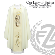 Our Lady of Fatima Gothic Chasuble Embroidered Lily Polish 1368W51GRU