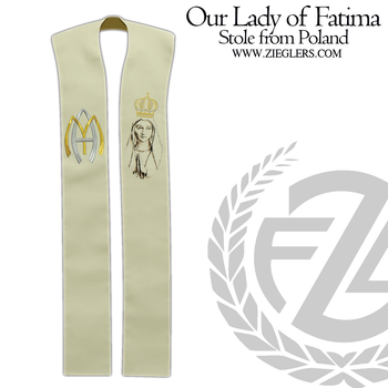 Our Lady of Fatima Priest Stole Embroidered Crown and Lily Style 10370