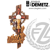 Eucharistic symbols on cross in fiberglass or hand carved linden wood with choice of 36 48 60 or 72  inch height and bronze white marble color stain or natural finish crafted in italy DM96029
