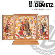 Nativity Triptych Shrine measures 70 by 36 inches made of Fiberglass with wood frame crafted in italy DM9702