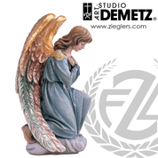 kneeling adoring angel statue in fiberglass or carved from linden Wood available in 22 or 30 or 48 inch with choice of color natural bronze white marble or stain finish Crafted In Italy DM1260