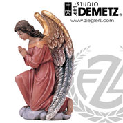 adoring kneeling angel statue in fiberglass or carved from linden Wood available in 22 30 or 48 inches with choice of bronze color natural white or stain finish Crafted In Italy DM1261A