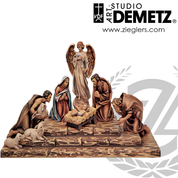 Nativity set by Bernardi carved from linden wood in 2 Sizes and 3 finishes includes jesus manger joseph mary angel 2 shepherds 2 sheep and base Crafted In Italy DM1918