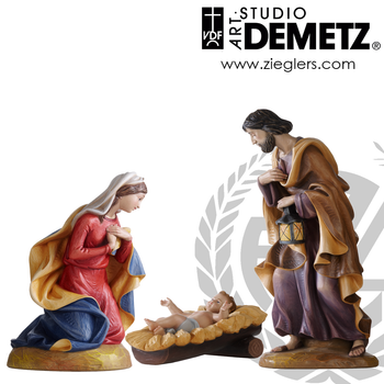Holy Family Statue set for nativity made of Fiberglass in choice of 18 24 30 36 and 48 inches and choice of color bronze or white marble finish Crafted In Italy 1950HF