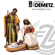 Adua African holy family statue set for nativity measures 24 inches made of Fiberglass in choice of bronze white marble or color finish Crafted In Italy DM1955HF