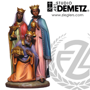Adua African wise men statue set for nativity measures 24 inches made of Fiberglass in choice of bronze white marble or color finish Crafted In Italy DM1955WM