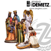 Adua African Nativity Set 24 inch made of Fiberglass includes holy family angel and 3 kings  Crafted In Italy DM1955