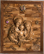 The Holy Family Olive Wood Plaque Imported from Jerusalem BAPHF