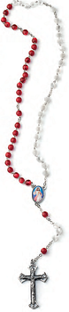 Divine Mercy Rosary Red and White Beads From Italy COC12IMMADM