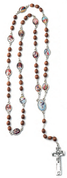Stations of the Cross Rosary Brown Wood Beads From Italy COC2144SOTC