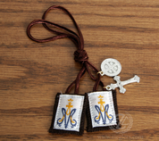 Children's Brown Scapular Crucifix and Medal Brown Cord ZRB1015