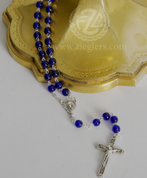 Rosary Blue Glass Beads Silver Ox Crucifix and Center From Italy LAL1053A7