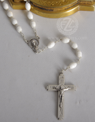 Rosary White Plastic Beads Silver Ox Crucifix and Center From Italy LAL1067A5