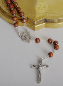 Rosary Light Brown Wood Silver Ox Crucifix and Center From Italy LAL1004A1