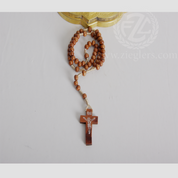Rosary Light Brown Wooden Beads and Crucifix From Italy LAL1004D1