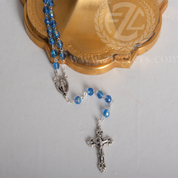 Blue Rosary Glass Beads Silver Ox Crucifix and Center From Italy LAL1084A7