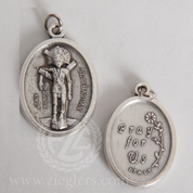 St Sebastian Silver Oxidized Medal Only From Italy BOM124E