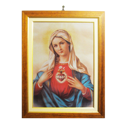 "Immaculate Heart of Mary Framed Woven Tapestry Banner 8"" x 12"" From Italy EFIMH"