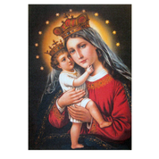 "Madonna and Child Woven Tapestry Banner 8"" x 12"" From Italy EFMADONNA"