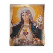 Rosary Case Immaculate Heart of Mary Woven Tapestry Snap Closure From Italy EFRSYIMH