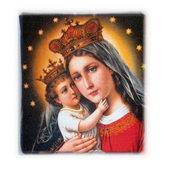 Rosary Case Madonna with Child Woven Tapestry Snap Closure From Italy EFRSYMADONNA