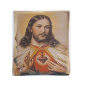 Rosary Case Sacred Heart of Jesus Woven Tapestry Snap Closure From Italy EFRSYSHJ