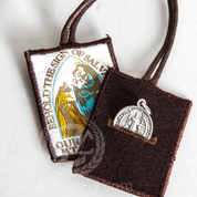 Our Lady of Mount Carmel Brown Scapular | Button Hole Pockets | Wool | JSCP