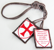 Templar Scapular wool with Brown Cord shows the symbol of the knights and the promise of our lady ABJSSCT
