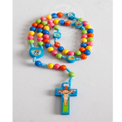 Rosary Children's Colorful Wooden Bead with Heart Shaped Center RI26629