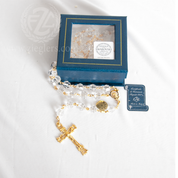 Swarovski Crystal Rosary Gold Crucifix and Center Gift Box Made in Italy LALRA064G