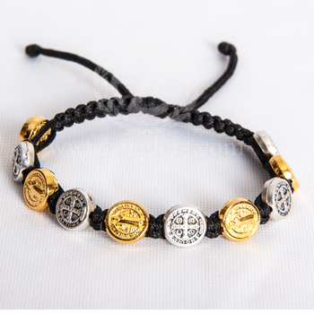 St Benedict Black Macrame Corded Bracelet With Gold Toned and Silver Oxidized Medals MJWSBBKGS