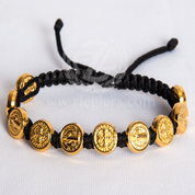 St Benedict Black Corded Bracelet Gold Toned Oxidized Medals MJWSBBKG
