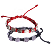 Divine Mercy Corded Bracelet Silver Oxidized Medals Available in 2 Colors MJWDM