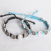 Miraculous Medal Corded Bracelet Available in 2 Colors Black or Light Blue MJWM