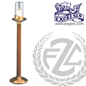 Acolyte Candlestick 19 inches with oak staff in choice of 3 finishes with Bronze or Brass with choice of 2 finish and choice of 5 styles of globe comes with 15 Hour Votive progressive bronze made in u s s 161139