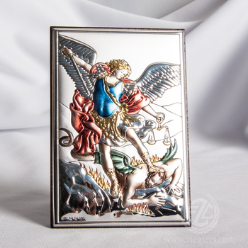 Archangel St Michael Plaque  Miro-Silver With Color Accents From Italy VAL180313L