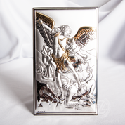 Archangel St Michael Plaque Miro-Silver with Gold Accents From Italy VAL180313XL