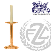 Altar Candlestick with round base and column choose from brass or bronze with satin or high polish finish and choice of 10 sizes made in u s a by progressive bronze PB216CS