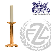 Altar Candlestick with round base and column choose from brass or bronze with satin or high polish finish in ten sizes includes socket and protector made in u s a by progressive bronze PB232CS